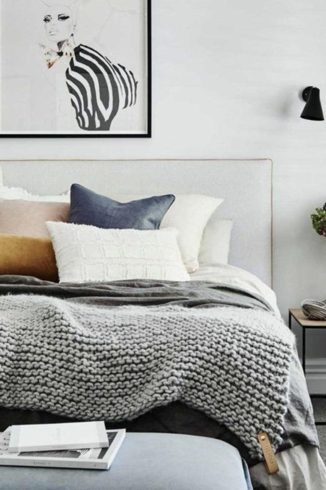 idee a copier deco chambre cosy plaid en laine grosse maille ambiance slow hygge moderne