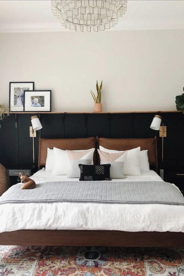 idee a copier deco chambre cosy tête de lit en cuir soubassement sombre et ambiance masculine