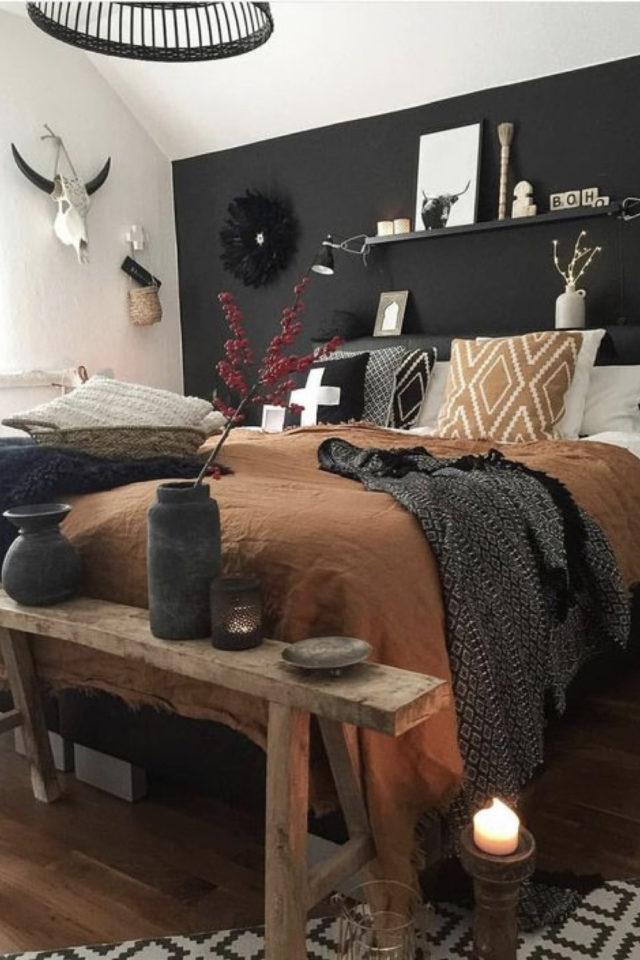 idee a copier deco chambre cosy  banc en bois recup bout de lit