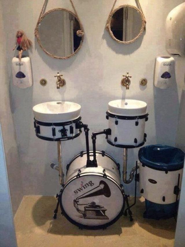 instrument recup batterie decoration exemple salle de bain detournement recup upcycling