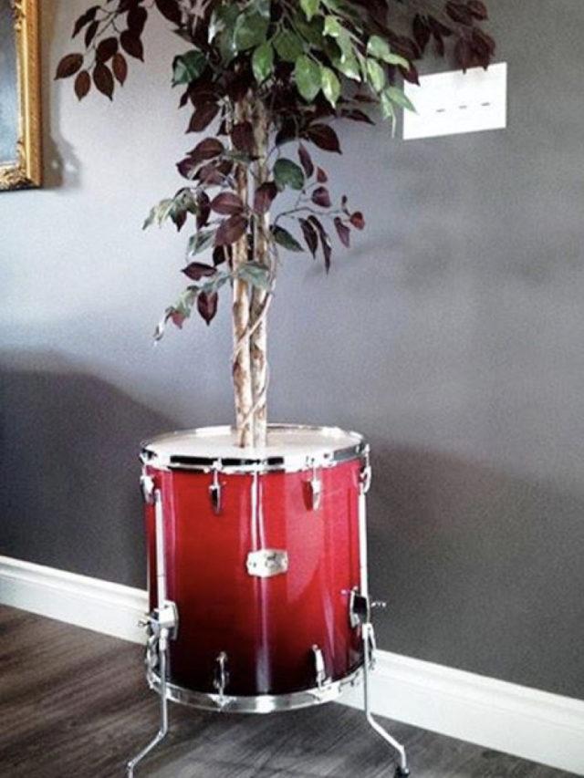 instrument recup batterie decoration exemple cache pot plante interieure