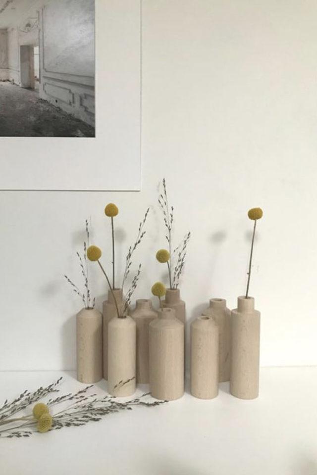joli vase decoration exemple soliflore en bois design moderne
