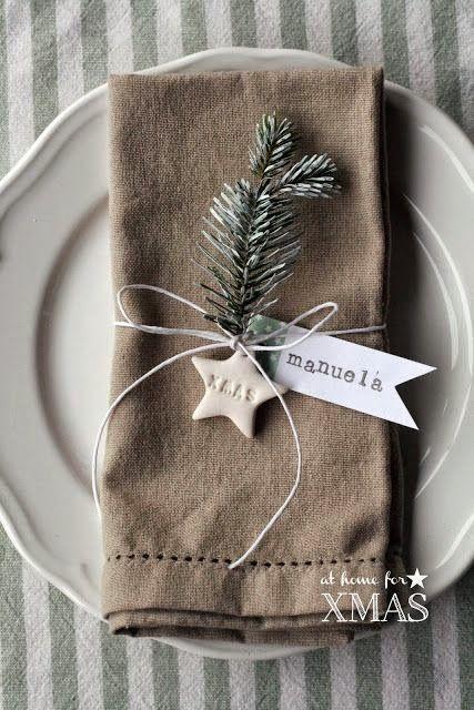 marque place diy noel serviette de table petite étoile étiquette prénom et sapin