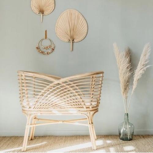 meuble bebe chambre decoration neutre berceau rotin moderne