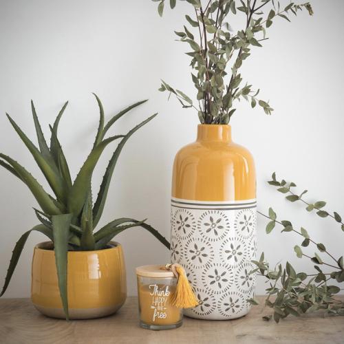 ou trouver joli vase quotidien jaune et blanc moderne