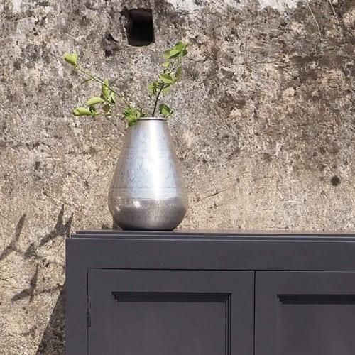 ou trouver vase deco metal ethnique argenté