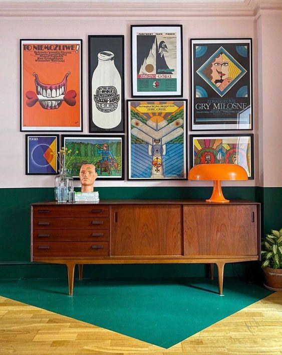 reve deco salon decoration murale cadre vintage enfilade mid century