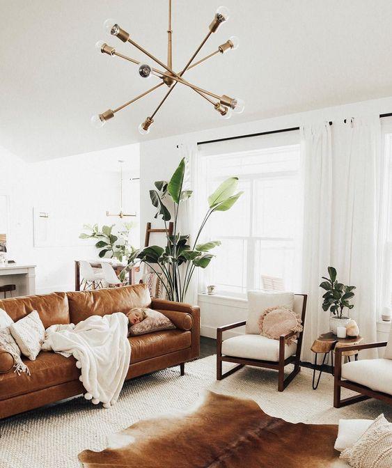 reve deco salon canapé cuir ambiance moderne