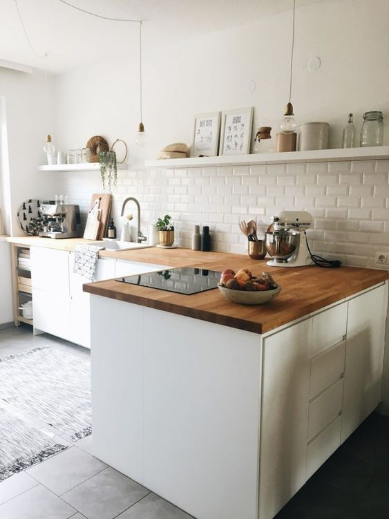 reve decoration cuisine moderne plan de travail en L bois