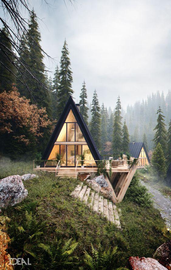 reve maison nature chalet triangle et terrasse