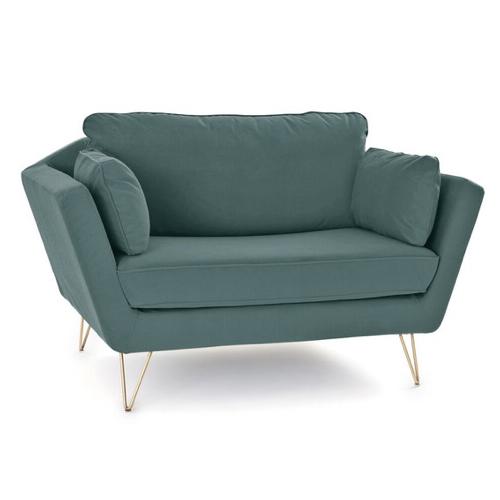 salon cocooning fauteuil XXL vert eucalyptus piètement métal compas