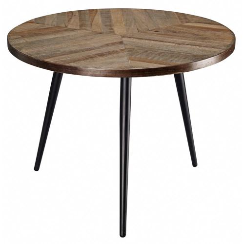 salon cocooning meuble appoint bout de canapé rond bois et piètement métal