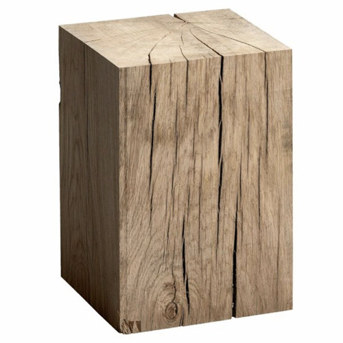 salon cocooning meuble appoint cube de bois brut ambiance authentique et chaleureuse
