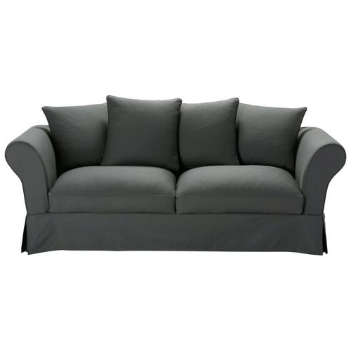 salon cosy canape pas cher classique chic gris foncé