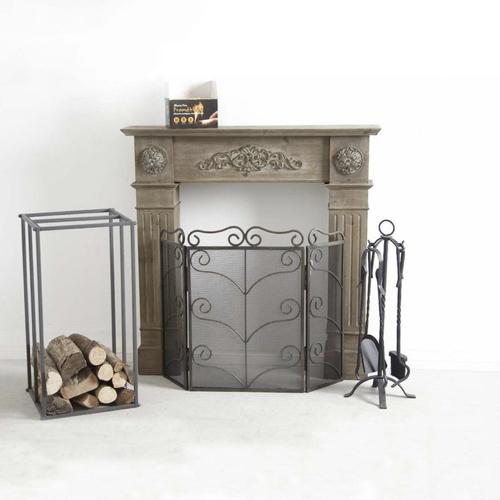 salon cosy cocooning manteau cheminée bois patiné vieilli