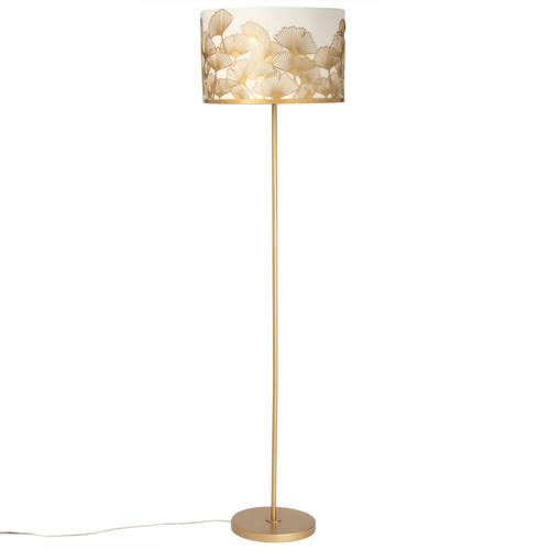 salon cosy eclairage luminaire appoint lampadaire élégant blanc et or