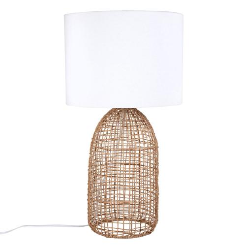 salon cosy eclairage luminaire appoint lampe a poser rotin et abat-jour blanc