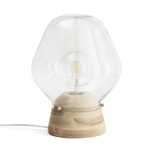 salon cosy eclairage luminaire appoint lampe a poser moderne bois et verre
