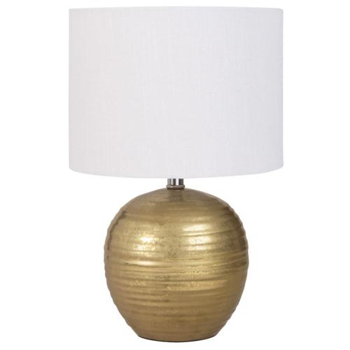 salon cosy eclairage luminaire appoint lampe dorée et abat-jour blanc élégant