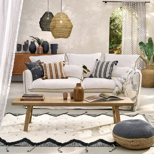 salon cosy tapis exemple tapis berbère original