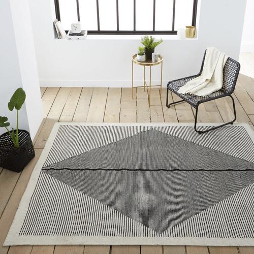 salon cosy tapis exemple tapis graphique noir gris blanc