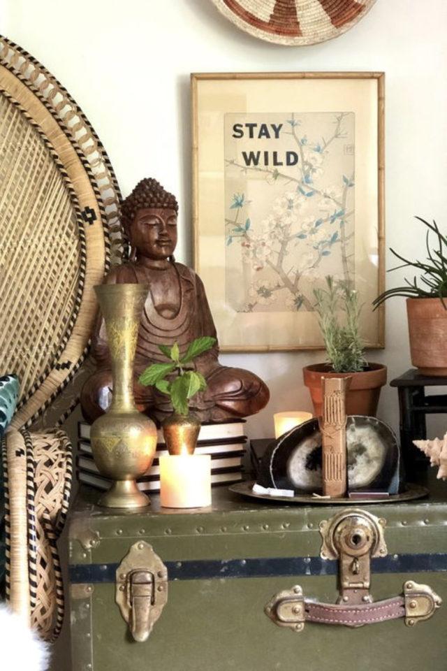 decoration rock éclectique bouddha voyage valise boho