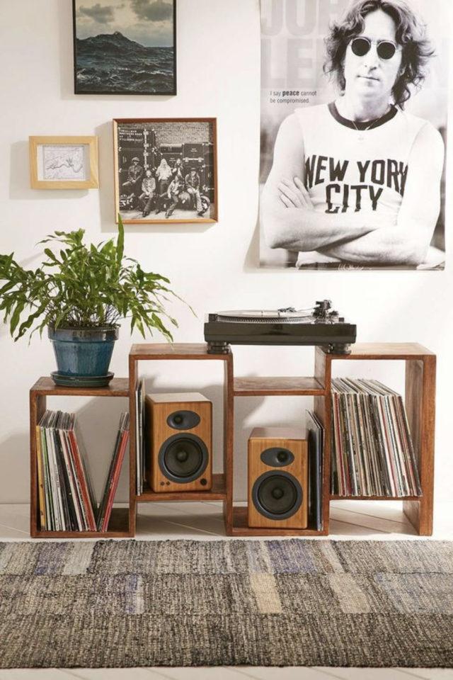 deco rock platine et rangement vinyle poster lennon
