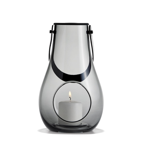 accessoire deco gris moderne design photophore translucide
