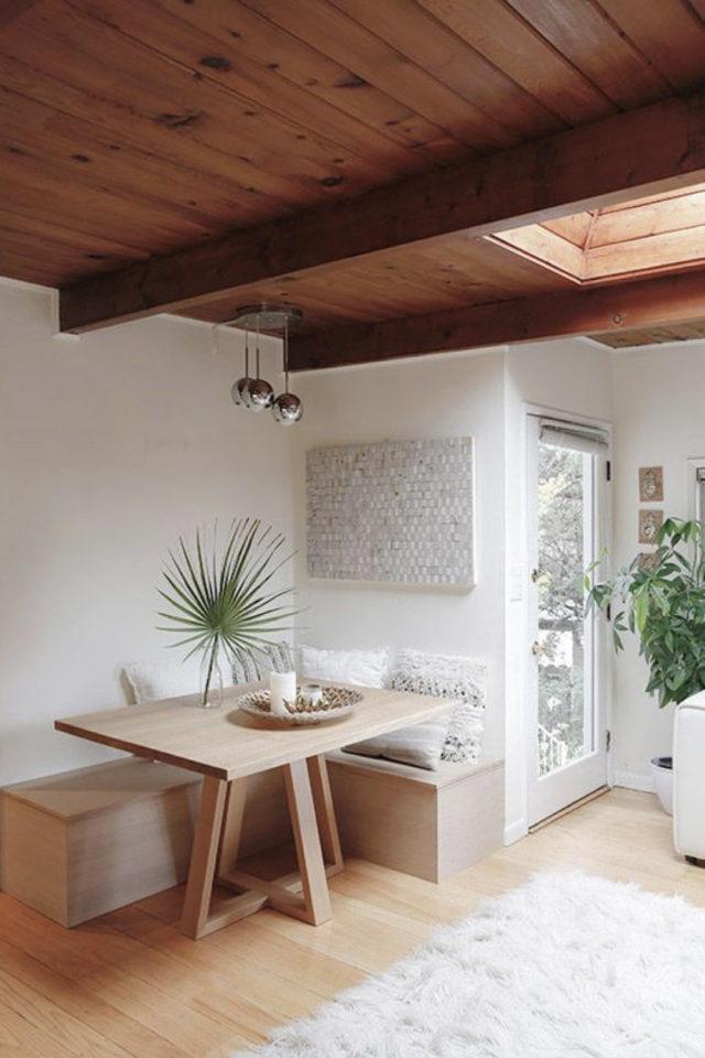 banquette angle coin repas gain de place style nature minimaliste épuré slow intérieur table rectangulaire