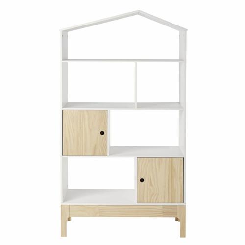 chambre enfant deco nature classique étagère blanche bois cabane