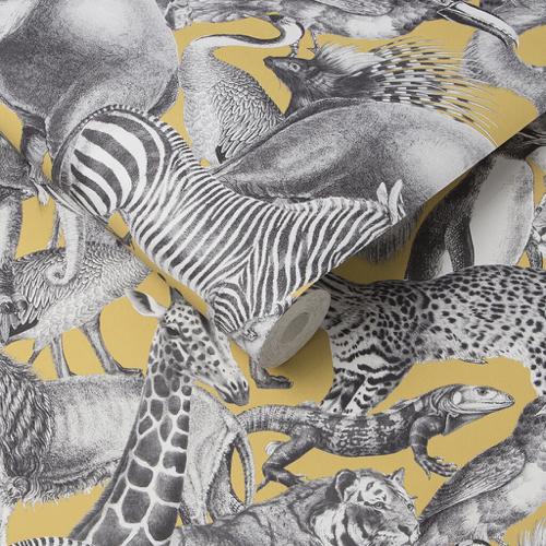 chambre enfant decoration animaux papier peint imprimé jaune et gris animaux jungle safari