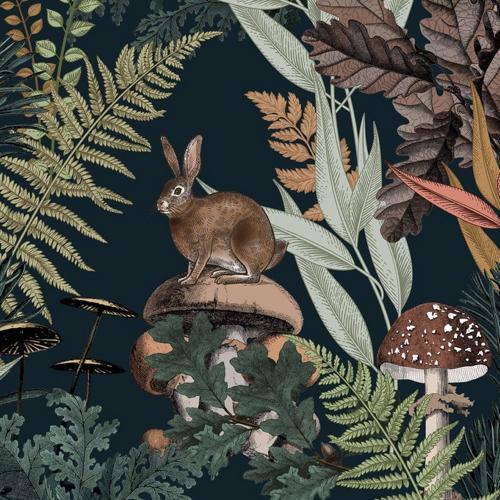 chambre enfant decoration animaux joli papier peint décor forêt