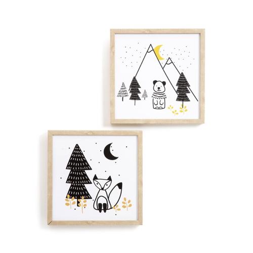 chambre enfant decoration animaux cadre et illustration forêt et montagne
