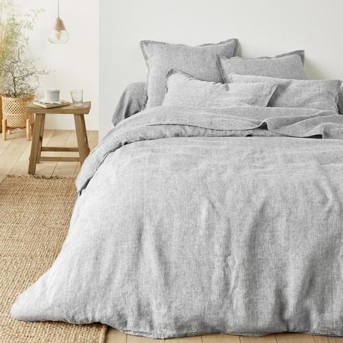 chambre linge de lit gris moderne cosy gris chiné clair