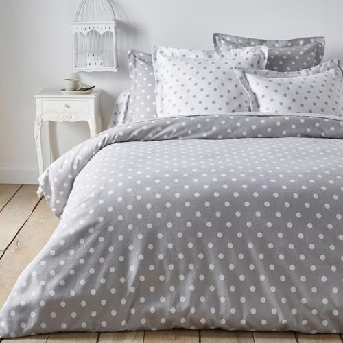 chambre linge de lit gris moderne cosy à pois blanc