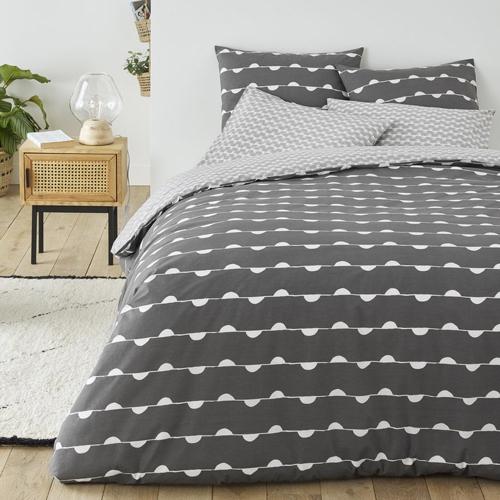 chambre linge de lit gris moderne cosy foncée imprimée