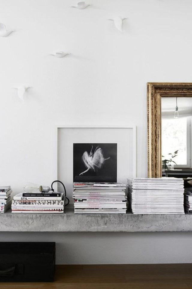 comment utiliser gris foncé déco étagère en béton ambiance moderne