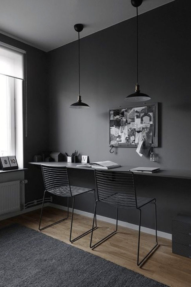 comment utiliser gris foncé déco bureau simple et minimaliste ton sur ton