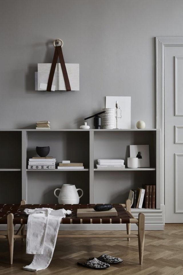 deco gris clair exemple ton sur ton étagère murale invisible moderne et tendance