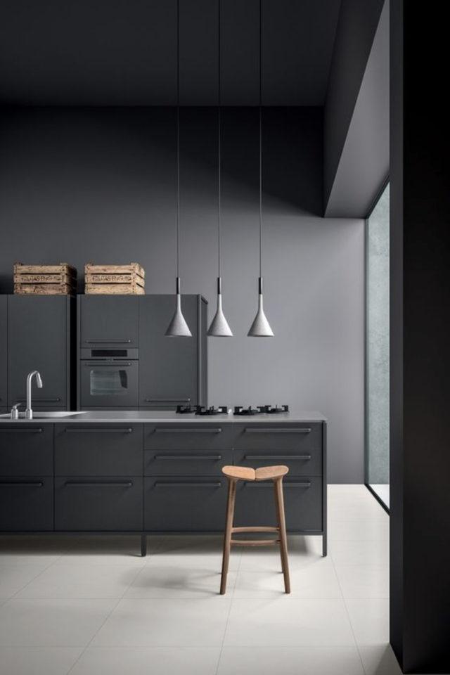 deco gris clair exemple camaïeux cuisine peinture meuble luminaire