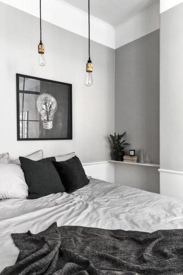 deco gris clair exemple chambre murs gris clair et parure de lit blanc anthracite et perle
