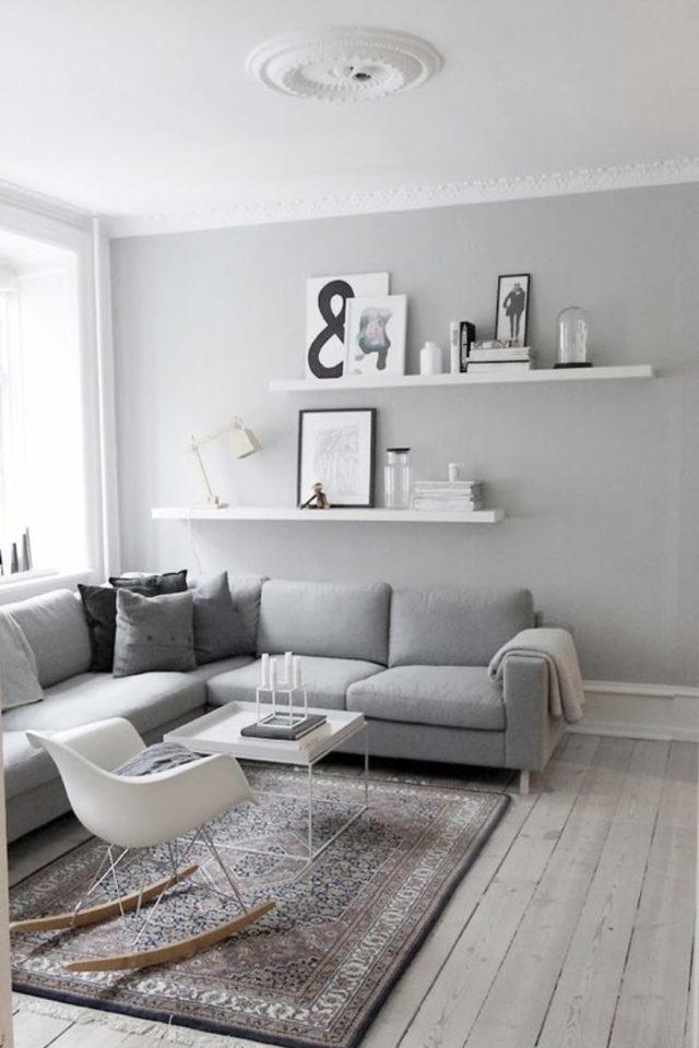 deco gris clair exemple canapé angle style scandinace et décoration simple blanche