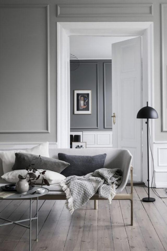 deco interieur couleur gris exemple style classique chic moulure aux murs