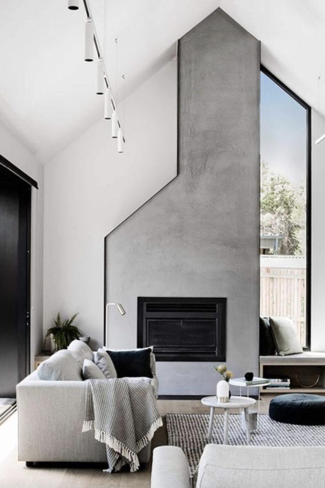 deco interieur couleur gris exemple revêtement mural béton ciré ambiance moderne et design cheminée
