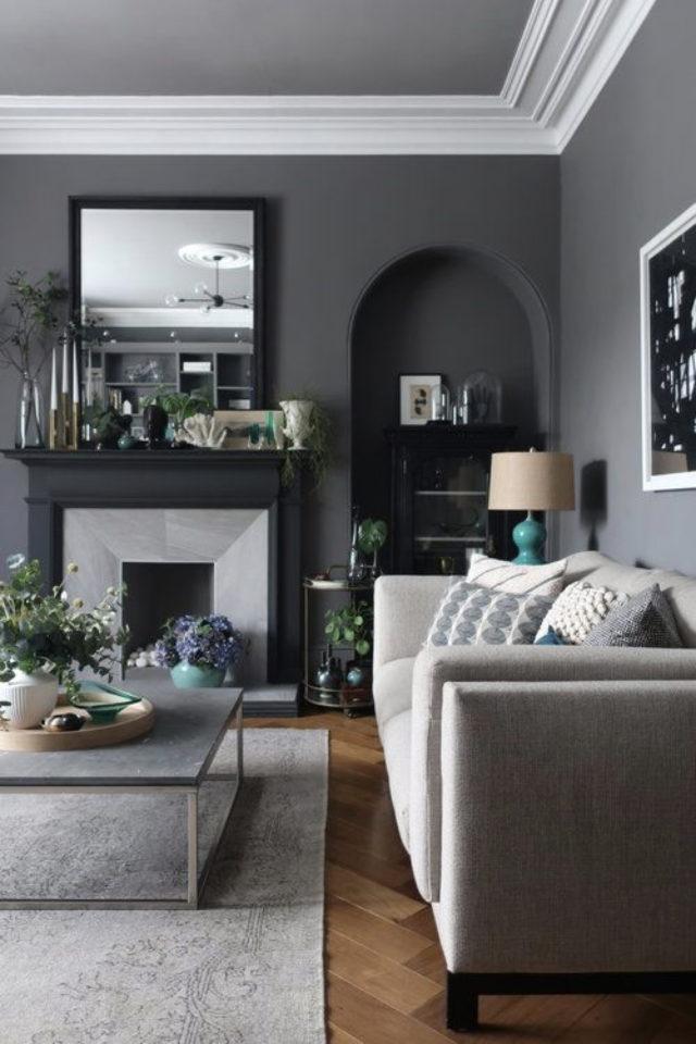 deco interieur couleur gris exemple salon style classique chix mur gris sombre et moulure blanche plafond