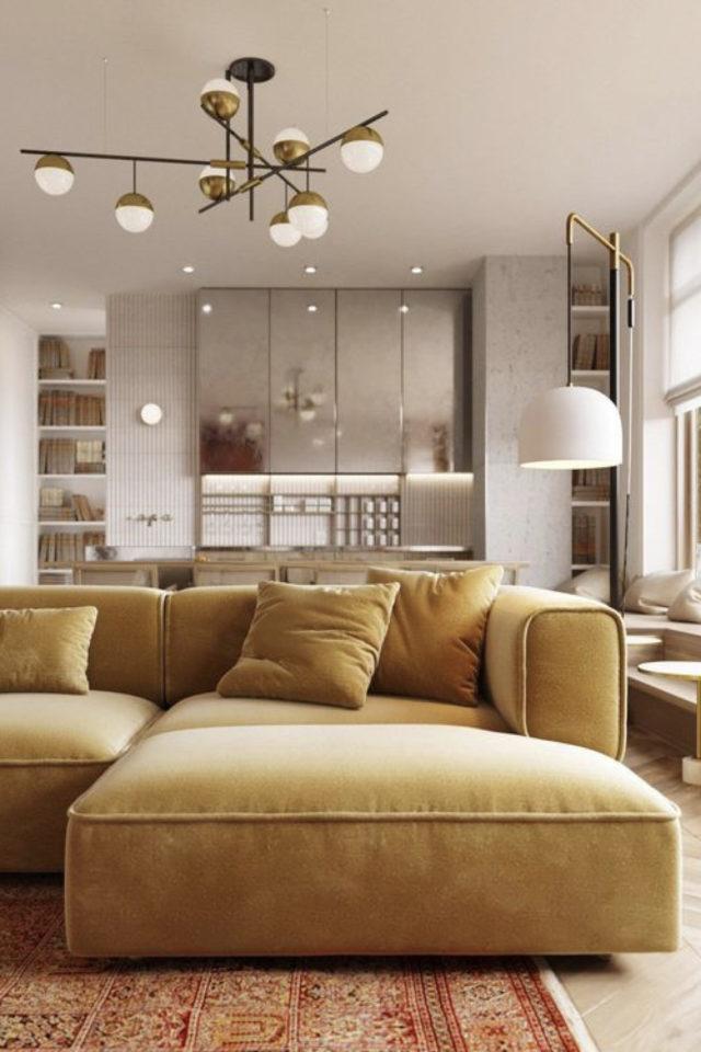 decoration amenagement salon canape convertible pas cher style moderne couleur ocre cosy