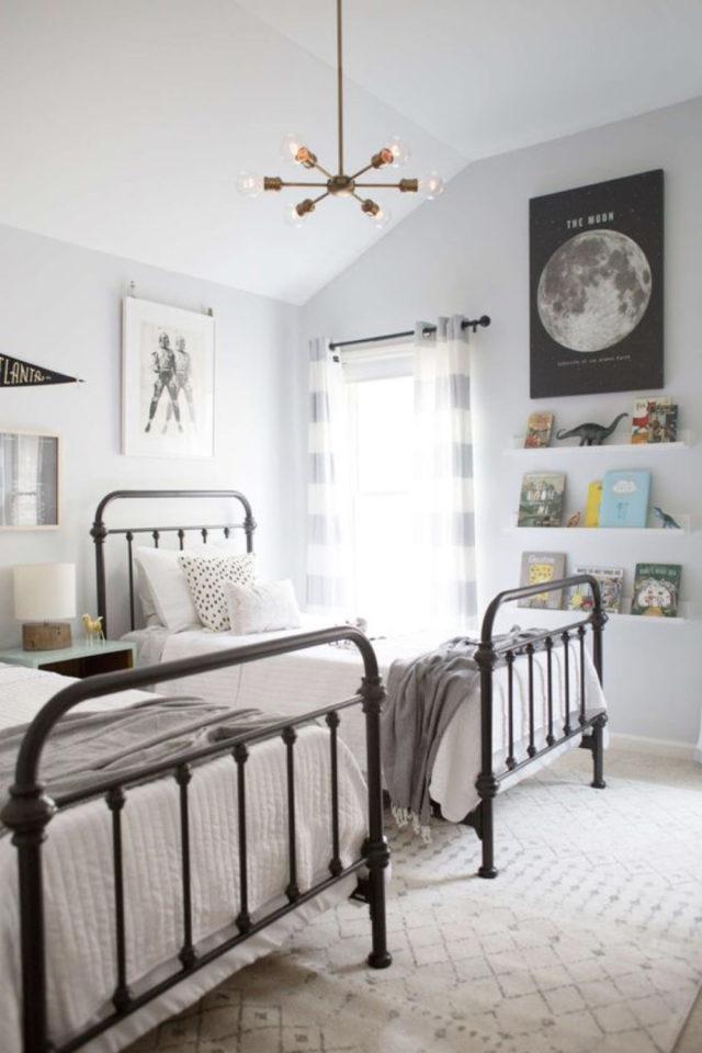 decoration chambre enfant lit metal exemple jumeaux, chambre double et lumineuse