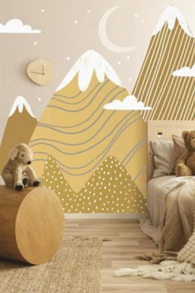 decoration chambre enfant nature exemple motif décor mural montage jaune et ocre