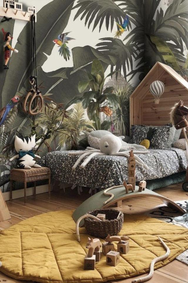 decoration chambre enfant nature exemple décor jungle ludique papier peint et animaux sauvages