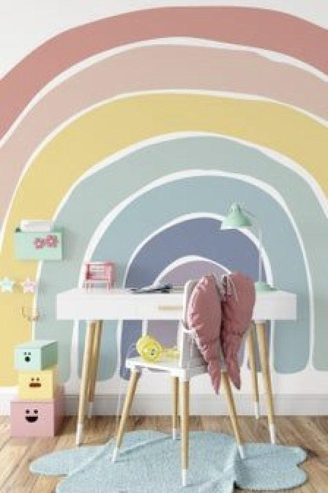 decoration chambre enfant nature exemple peinture décor mural forme arc en ciel